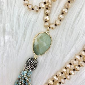Jewelry - Crystal Knotted SemiPrecious Stone Tassel Necklace